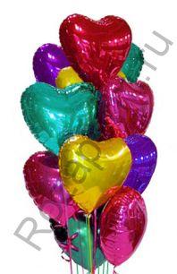 Связка из 11 больших фольгированных шаров в форме сердец с гелием 70см